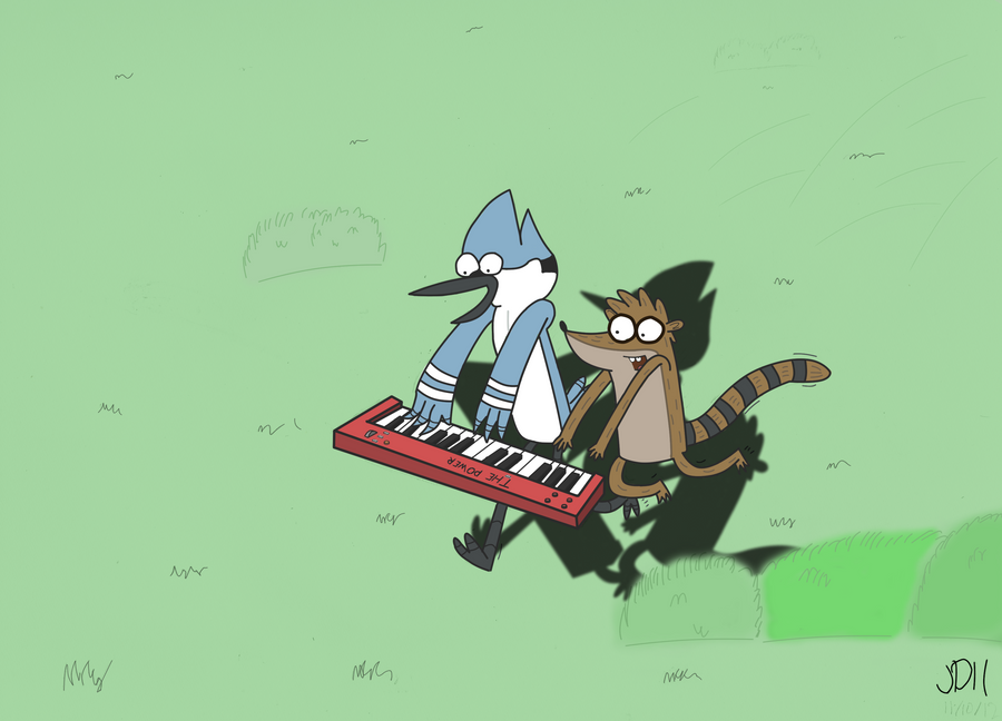 Mordecai and Rigby: The Power by SketchedJDII
