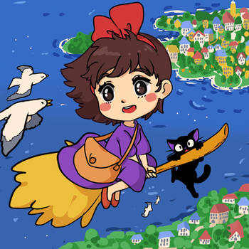 Kiki and Jiji Flying by Moossey
