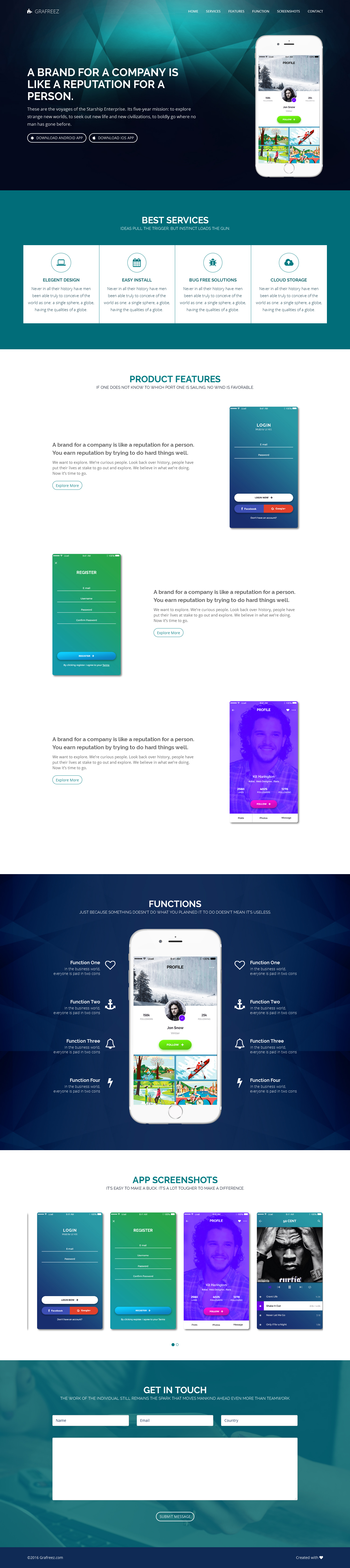 Light Free Mobile App Landing Page Template Html by Grafreez on ...