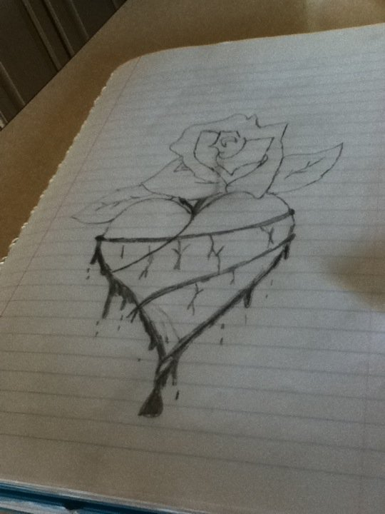 Heart and Bleeding Rose by Bloodonmyhands25