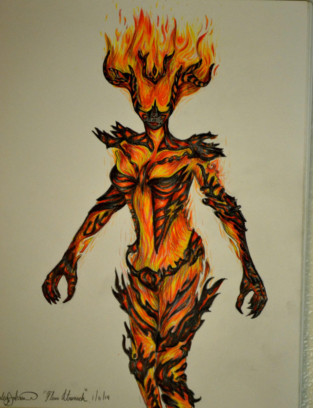 flame attronach colored pencil drawing by ambitiousartisan on deviantart