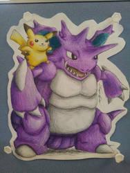 Pikachu and Nidoking - Best Buddies! by JamesTheUnworthy