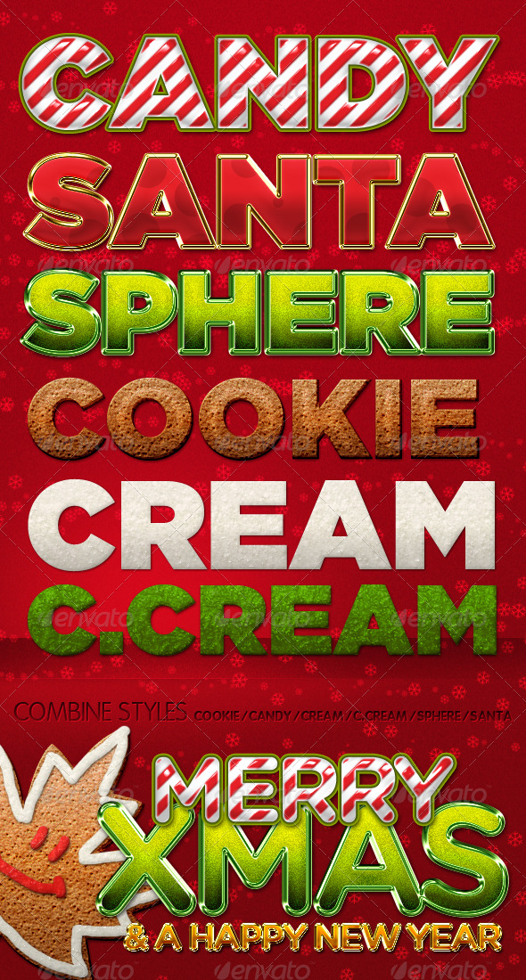 Awesome Xmas Text Styles by PhotoshopStyles