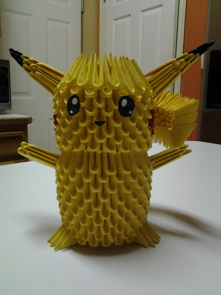 3d Origami Pikachu By Dragon01fan