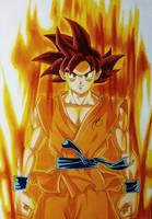 Goku SSJ God by Pandaroszeogon