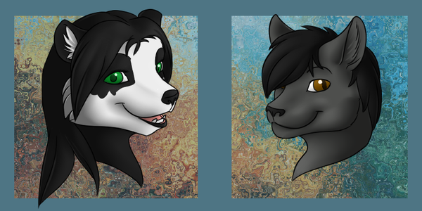 Panda and Cat Busts by VenutianMacaw