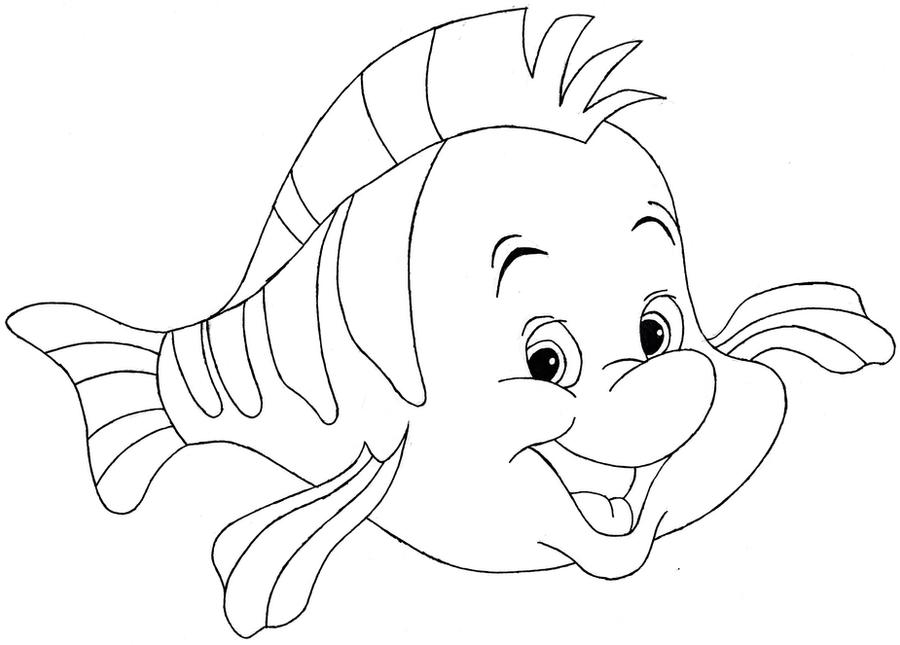 Flounder Disneys The Little Mermaid Line Art By