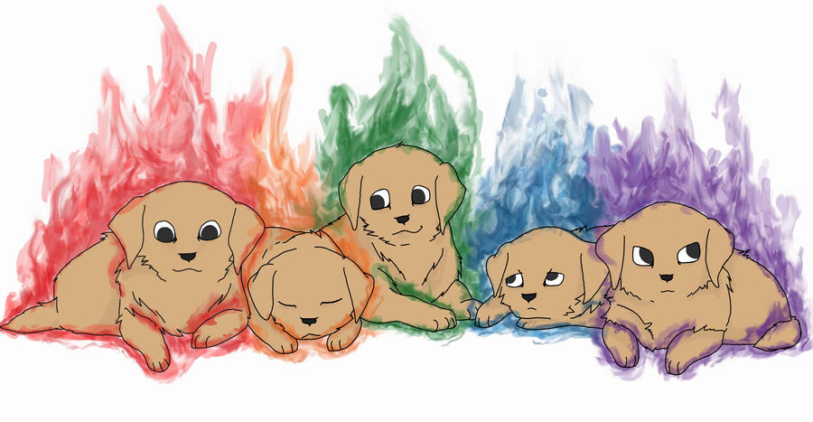 Fire Puppies by MaboroshiTira