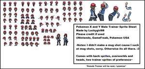 Pokemon X and Y  Sprite Sheet- Male Trainer