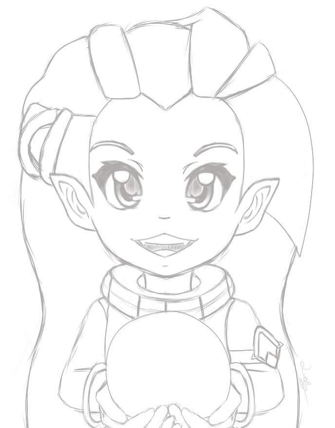 LoL: Zoe- HI!!!! (Sketch) by luckygirl88