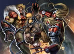 Sabertooth vs Wolverine vs Omegared (colored)