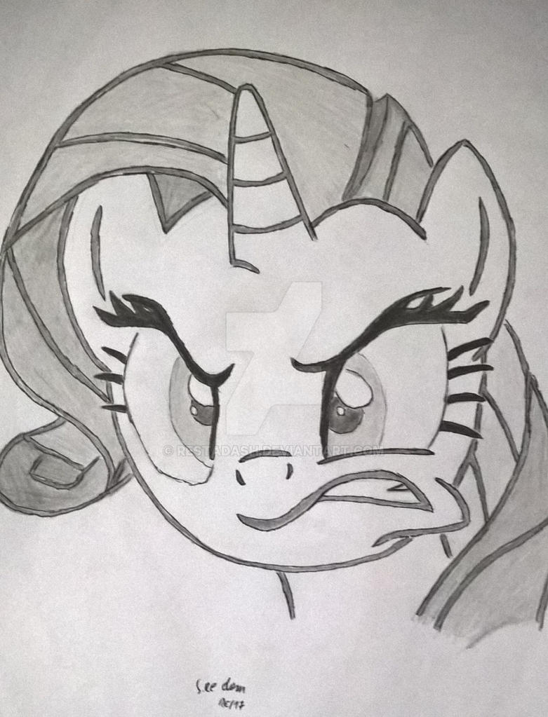 Rarity pencil drawing by RestaDash