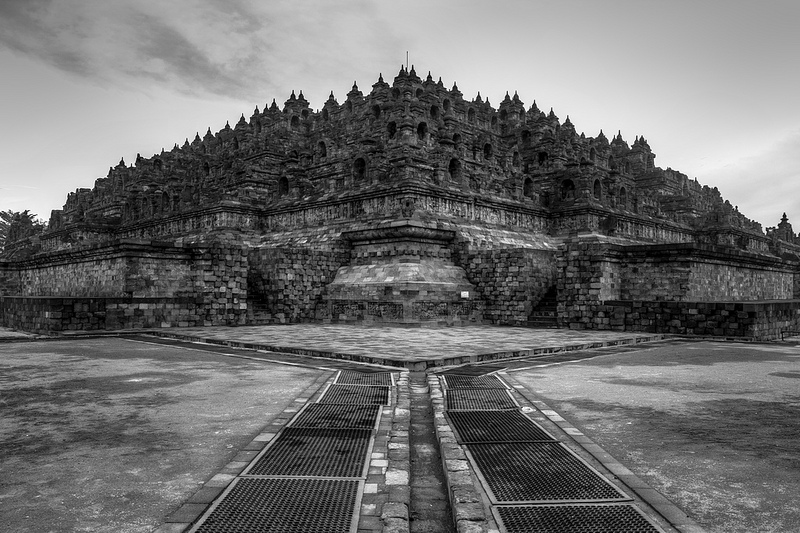 Borobodur Temple in Black and White by Noah0207