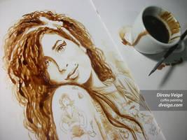 Amy Winehouse Portrait - Coffee Art by D. Veiga.