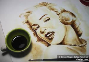 Marilyn Monroe portrait - Coffee Art by D. Veiga.