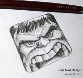 Hulk Icon Design Sketching