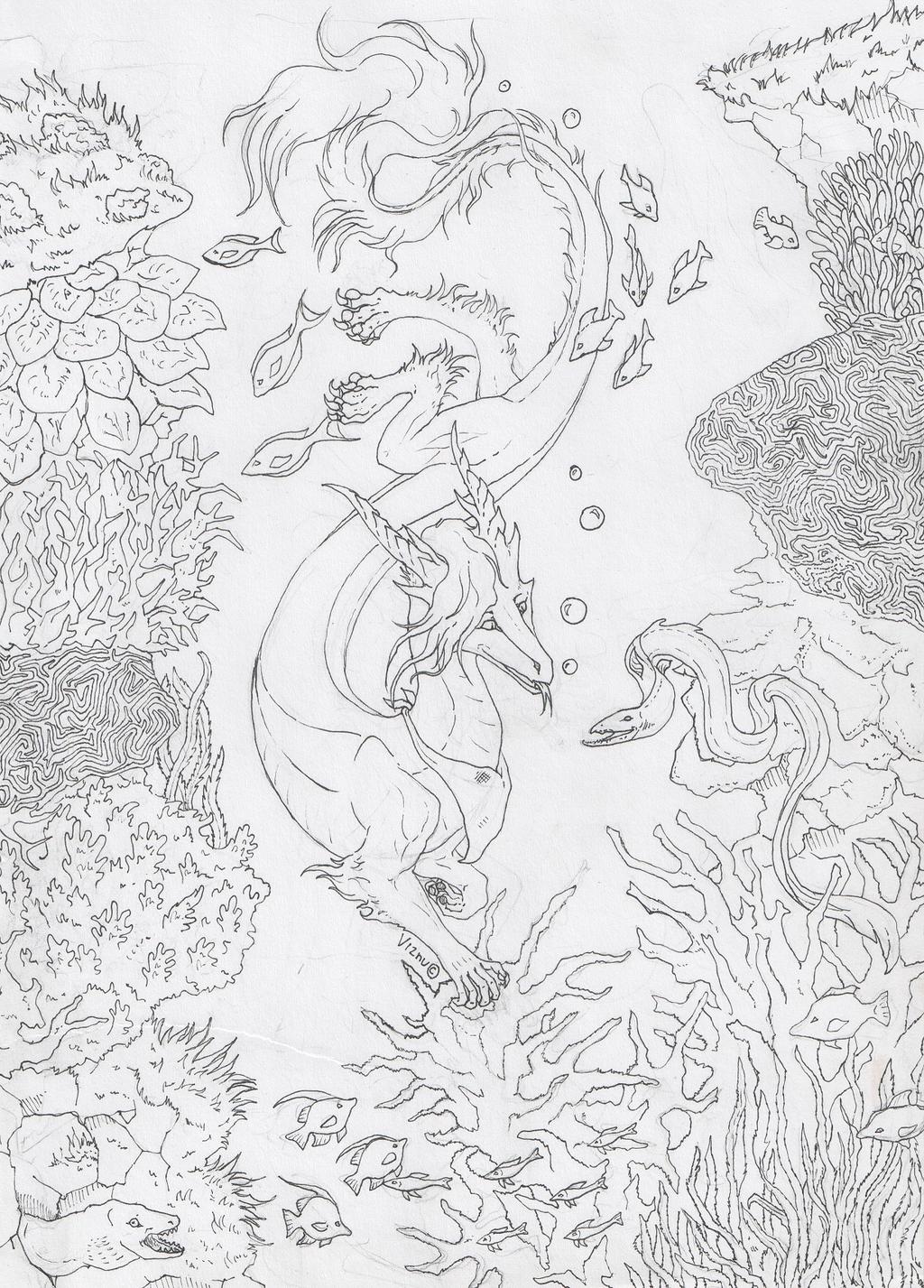 Line Art Underwater : Underwater sketch lines by viznu on deviantart
