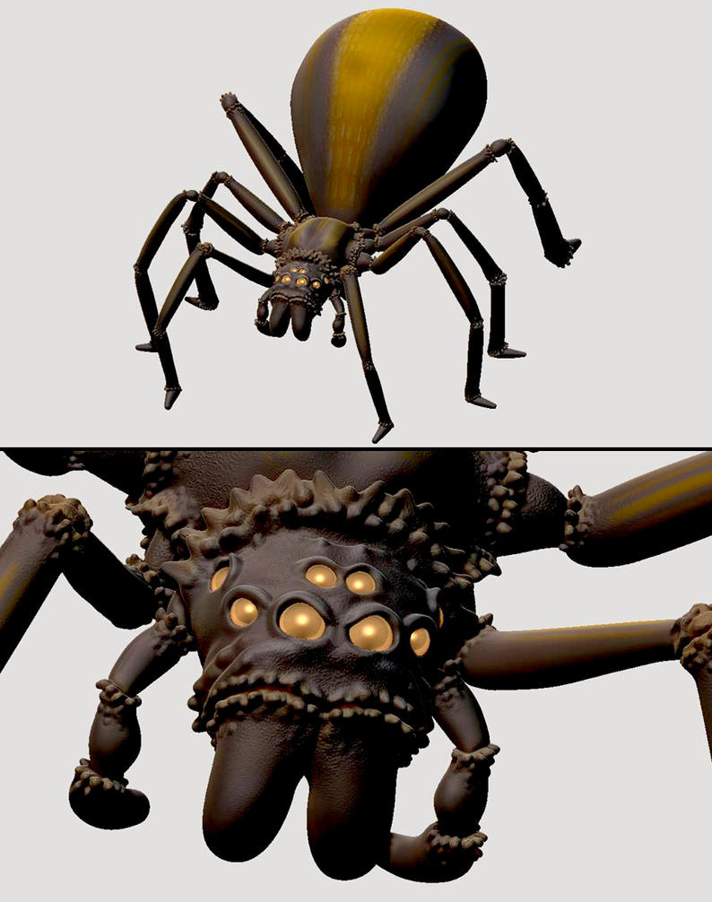 zbrush practice 003: spider by Samholy