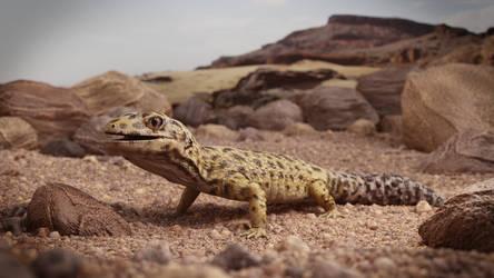 Leopard Gecko in the Sand by DerpyDuckArt