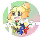 Isabelle and some Pikmin