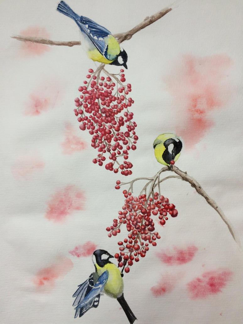 Birds Winter  by judiii