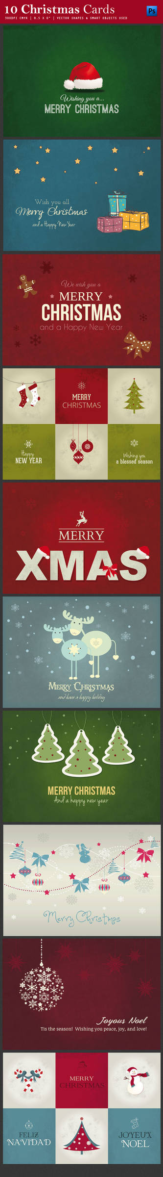 10 Christmas Cards or Backgrounds