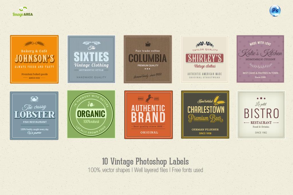 10 Photoshop Vintage Labels by imagearea