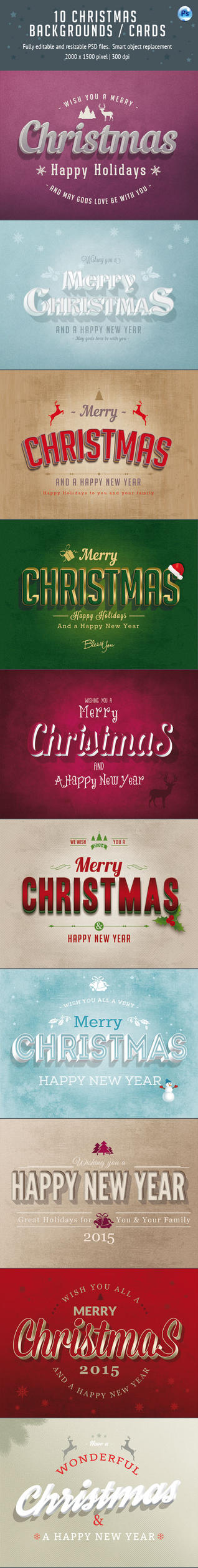 10 Christmas Backgrounds / Text Styles / Cards by imagearea