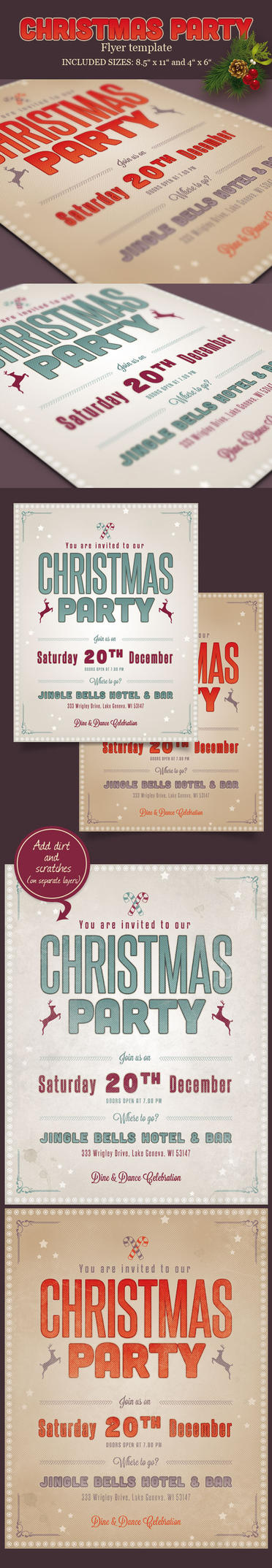 Retro Christmas Flyer / Invitation by imagearea