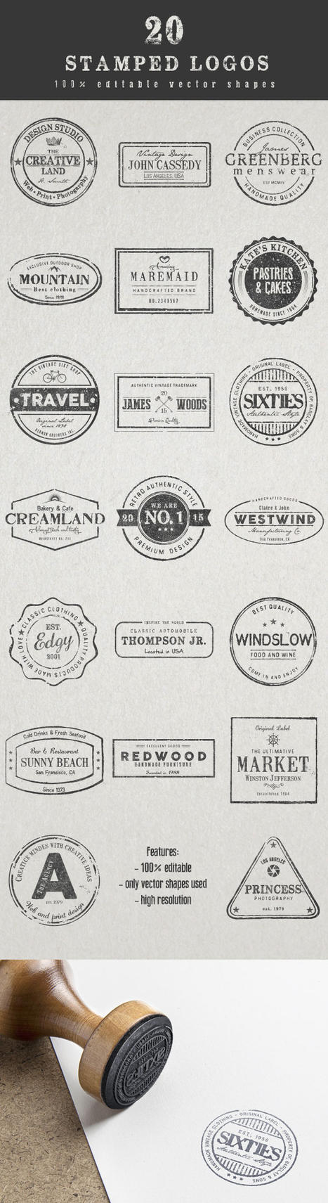 20 stamped Logos by imagearea