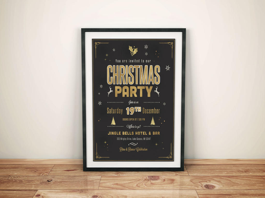 Golden Christmas Party Flyer by imagearea