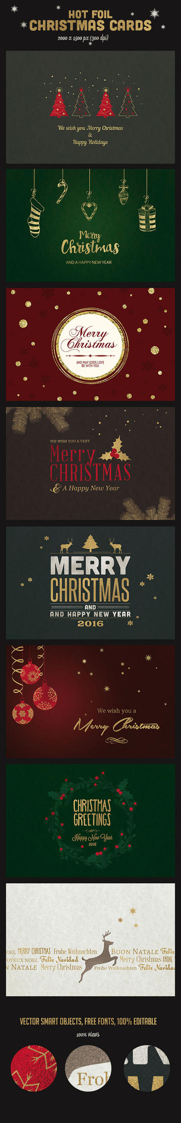 9 Hot Foil Christmas Backgrounds / Card by imagearea