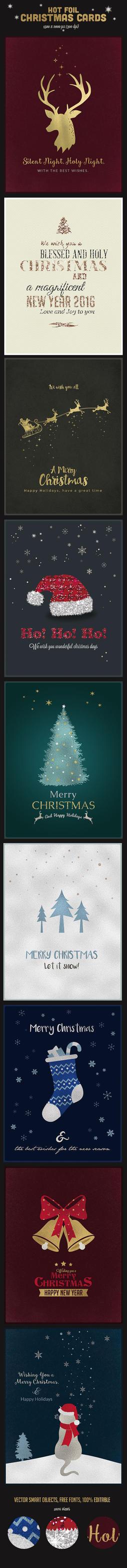 9 Hot Foil Christmas Cards PSD Vol.2 by imagearea