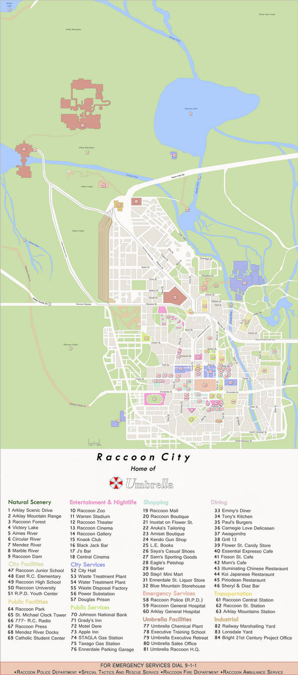 Raccoon City Map Map of Raccoon City   Home of Umbrella by Enetirnel on DeviantArt