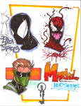 Marker Marvel head sketches