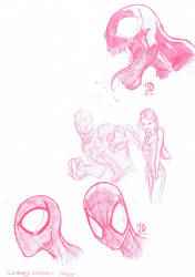 Spiderman red pencil sketches by JoeyVazquez