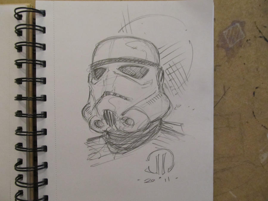 Storm Trooper Head sketch by JoeyVazquez