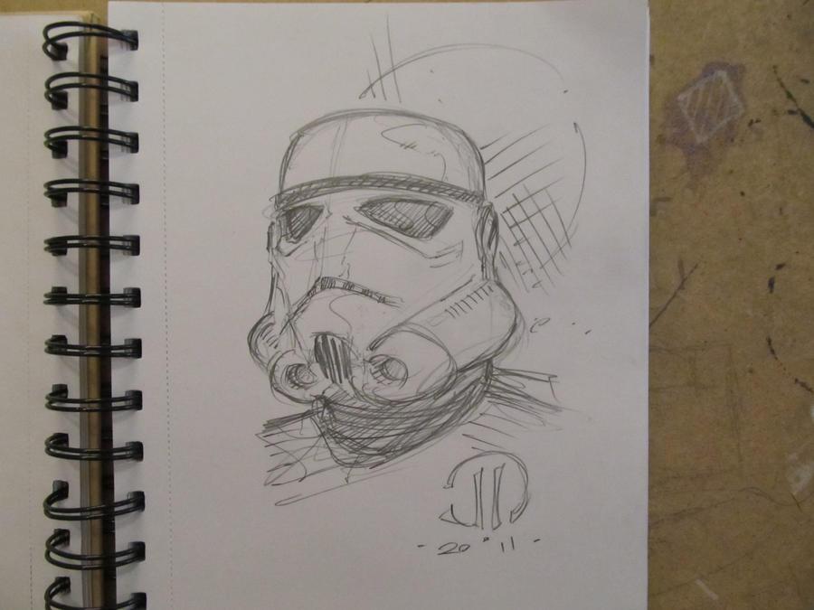 Storm Trooper Head sketch by JoeyVazquez
