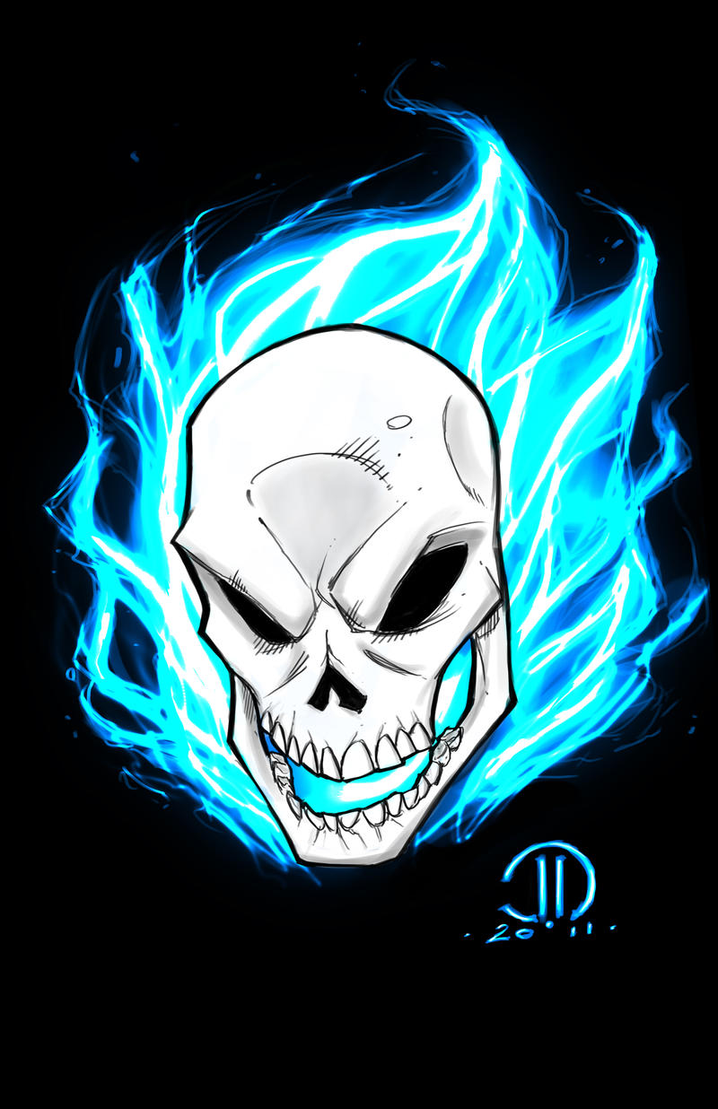 Ghost rider blue digital sketch by joeyvazquez on deviantart - Blue ghost rider ...