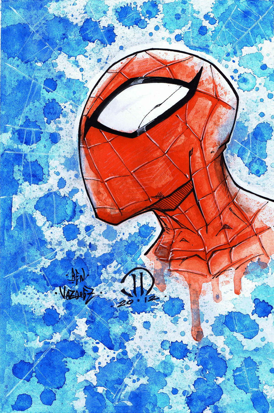 Spiderman Head Drawing With Color Spiderman Head Water Color