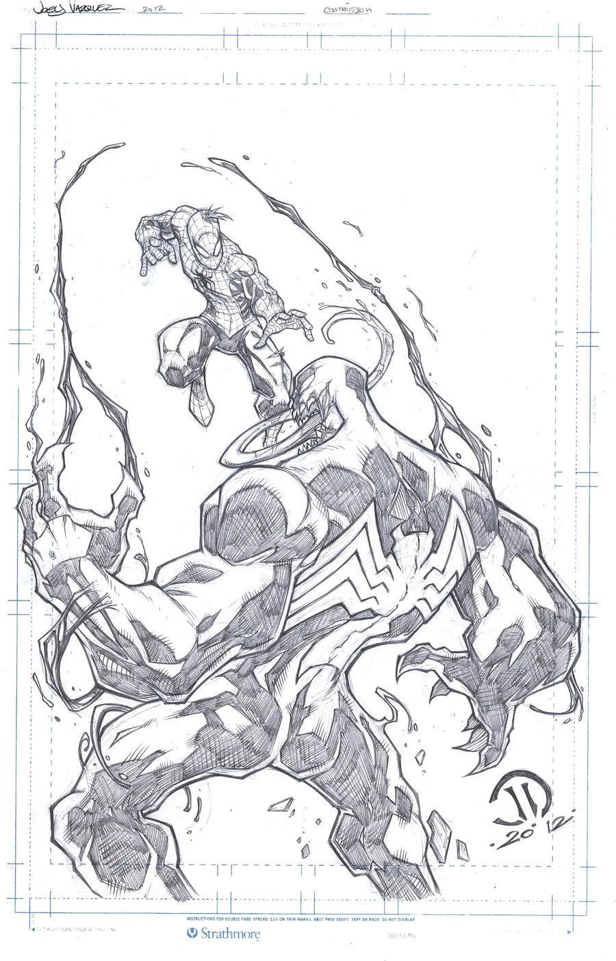 Spiderman vs Venom commission pencils by JoeyVazquez