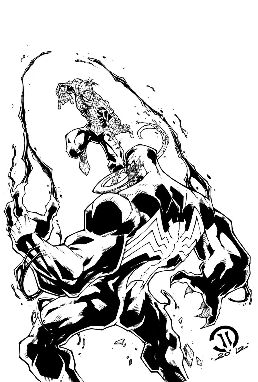 Spiderman vs Venom inks by JoeyVazquez