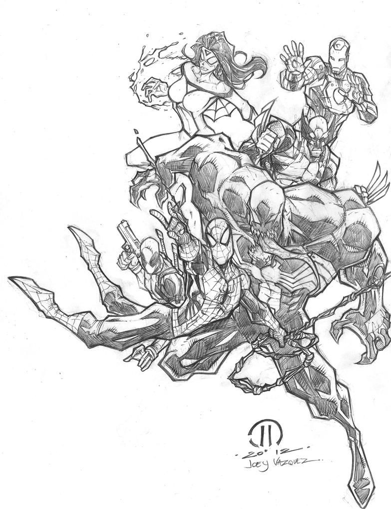 Favorite Marvel Characters pencils by JoeyVazquez