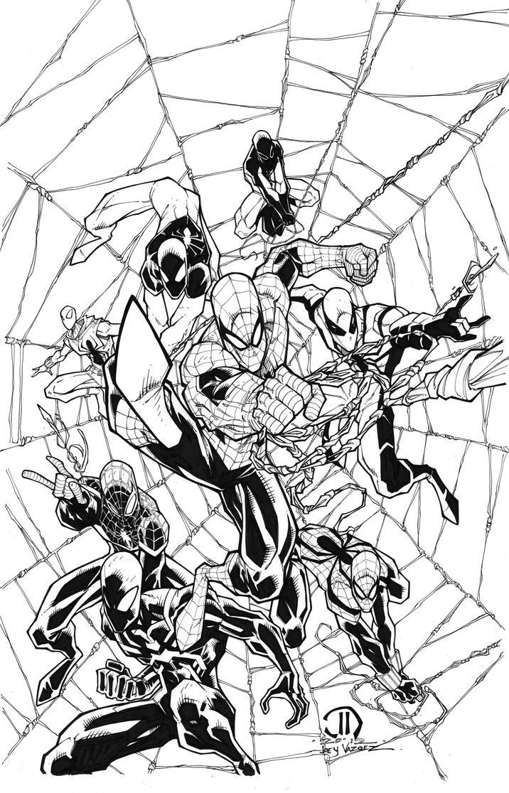 Spiderman MONTAGE Commission inks by JoeyVazquez