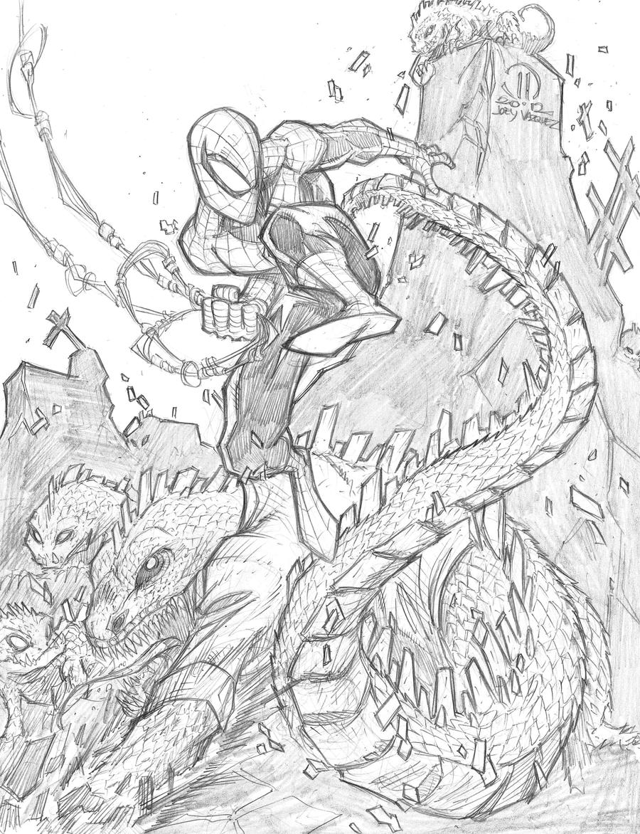 spiderman vs the lizard by joeyvazquez on deviantart