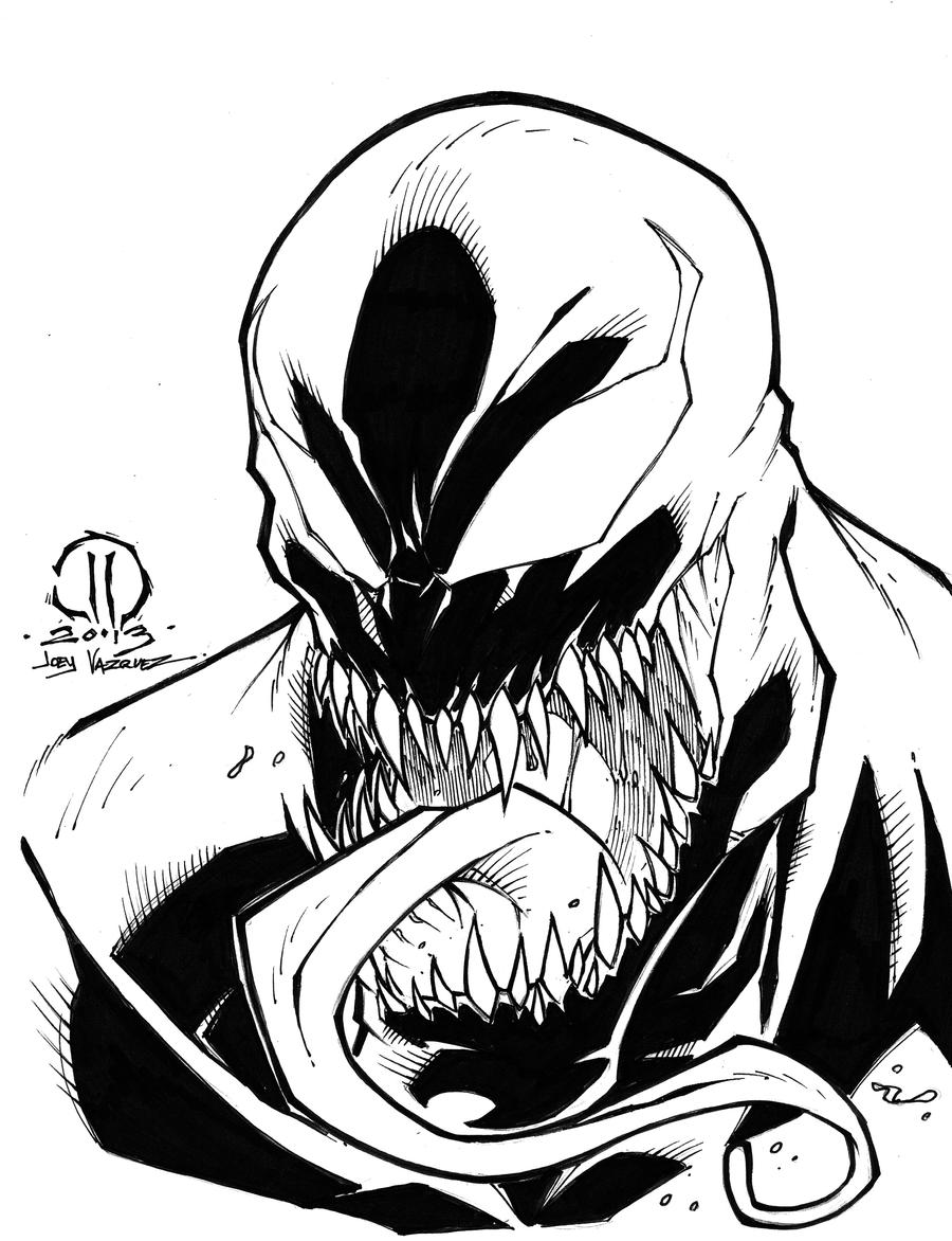 Spiderman Face Line Drawing : Venom inked sketch by joeyvazquez on deviantart