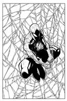 Spiderman hanging by a tread inks by Juan by JoeyVazquez