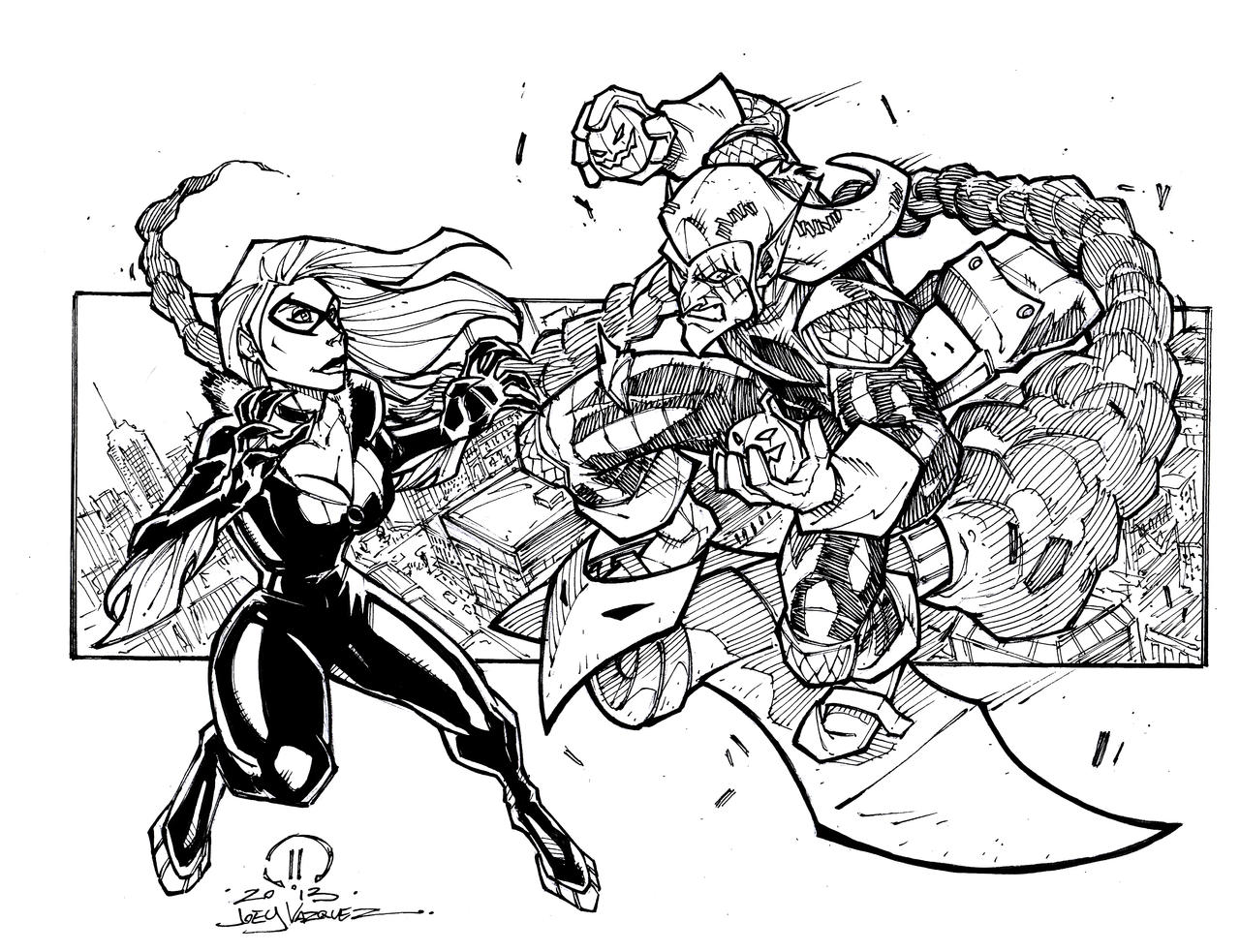 Black cat vs green goblin sketch by joeyvazquez on deviantart for Green goblin coloring pages