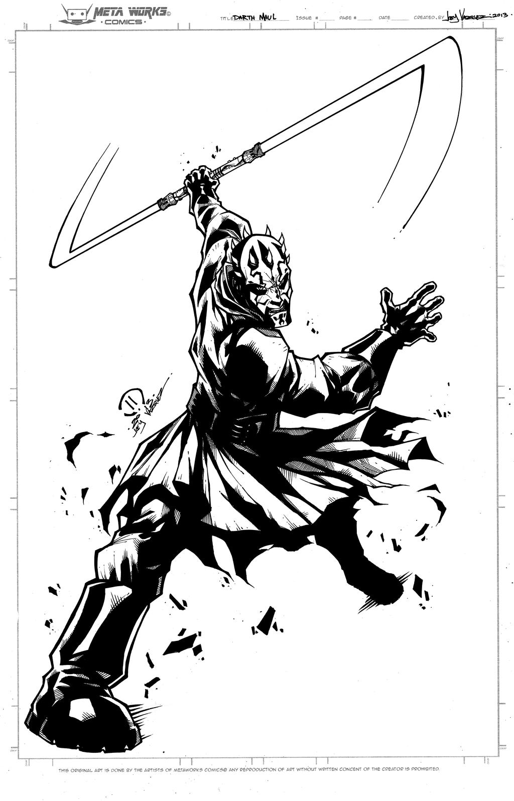 Darth Maul Inks By Joeyvazquez On Deviantart Darth Maul Coloring Pages