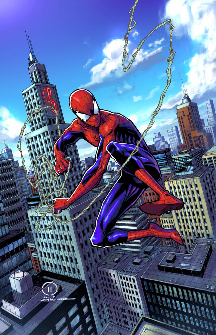 SPIDER-MAN swinging through the City colors